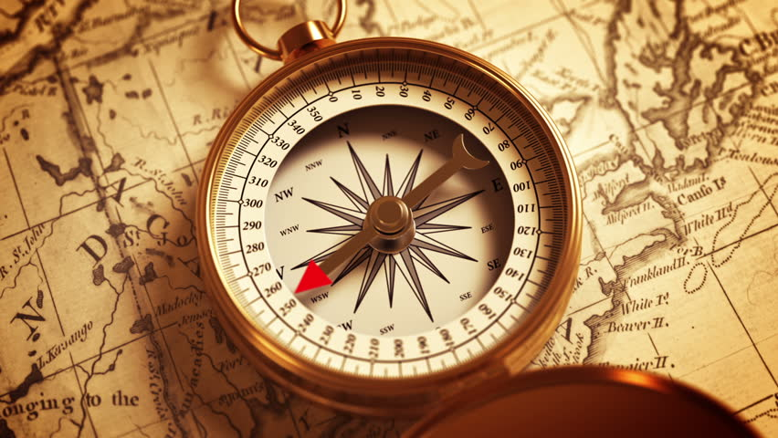 Compass On The Map Indicating Direction. 3D Animation.