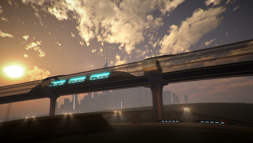 monorail futuristic train in tunnel. 3d illustration