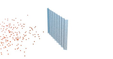 Particles separated and captured in filter . 3d animation for purification, cleaning themes.