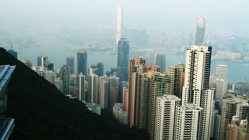 Hong Kong cityscape panorama at daytime. View from Victoria peak | Shutterstock HD Video #2340416