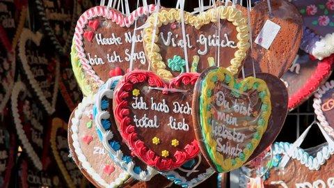 Gingerbread hearts at the Oktoberfest in Munich, Bavaria, Germany