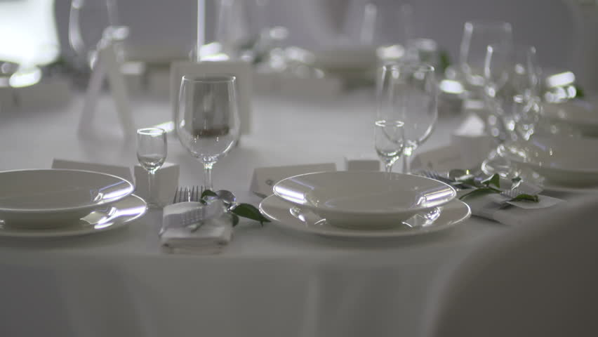 glasses table setting. Table With Wine Glasses Of Wedding Arrangement - HD Stock Video Clip Setting N