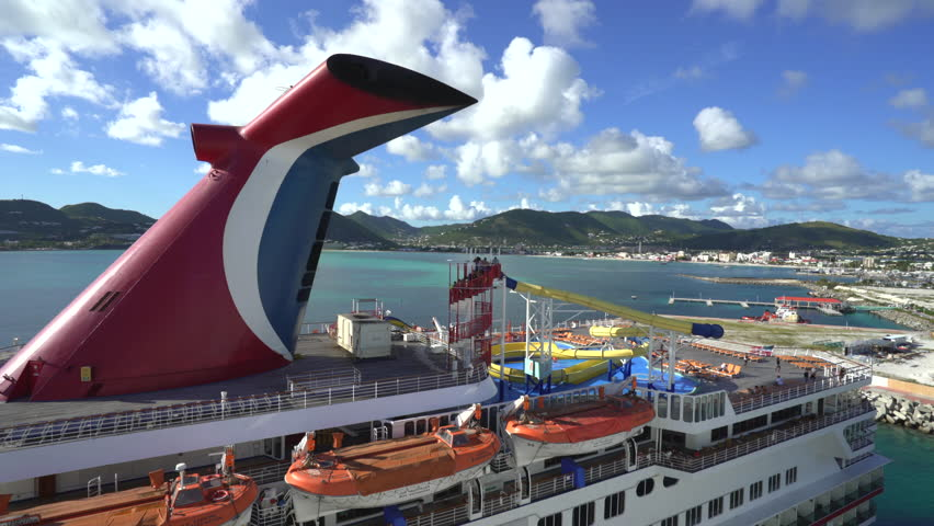 Video Of The Water Slide And Pool Deck On A Cruise Ship In The - Cruise ship slide