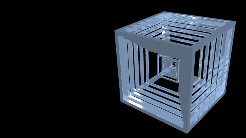 Alpha channel animation of mirrored cubical objects whose rotation and color change