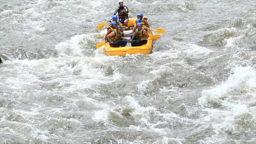 White water rafting on the rapids of the river Patate,Ecuador.Full HD with sound