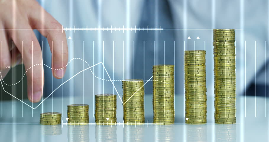 A businessman in a suit and tie with pile up golden coins  and waveform lines expressed concept of stock market, growth stock market, economic profits, stock exchange  | Shutterstock HD Video #23477740