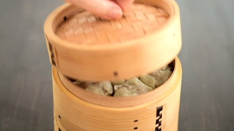 Chinese Dumplings in Bamboo Steamer