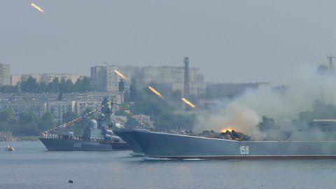 Missile attack Russian military landing craft - July 28, 2016, Crimea, Sevastopol