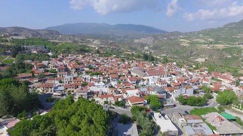 Omodos Village Aerial video passing by. Cypriot village