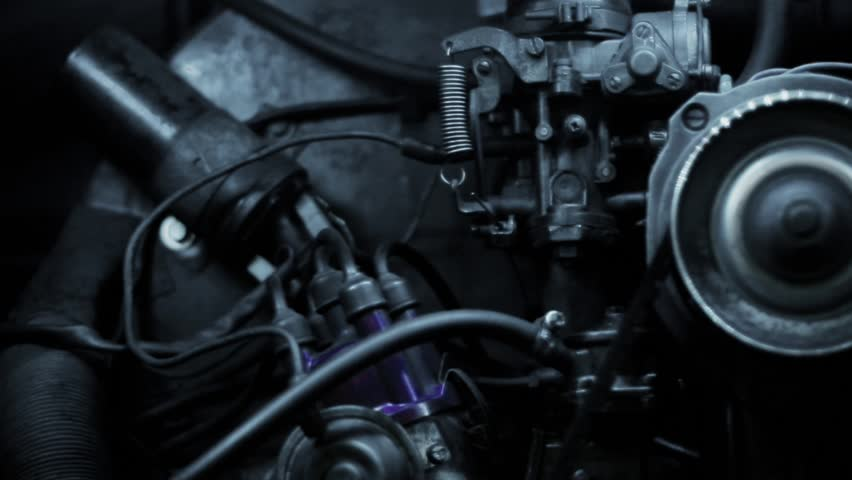 Volkswagen T2 motor, Vintage bus, Interior visual, close up