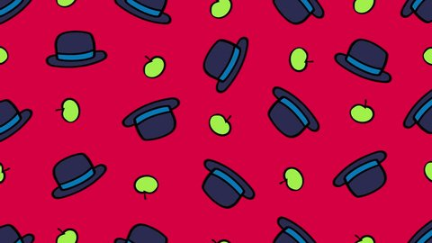 Cartoon dark bowler hats and green apples isolated on red background. Looped animation.