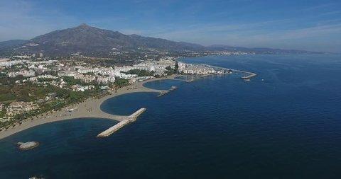 Puerto Banus Marbella, Spain - Aerial Drone