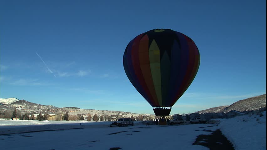 PARK CITY, UT - CIRCA 2004: Winter Hot Air balloon take off in Park City.