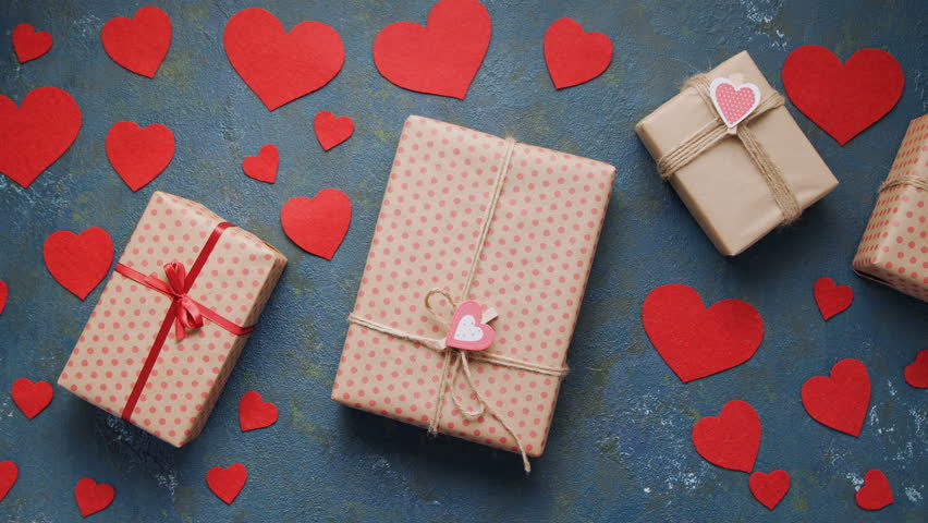 Valentines Day Holiday Gift Box Stock Footage Video 100 Royalty