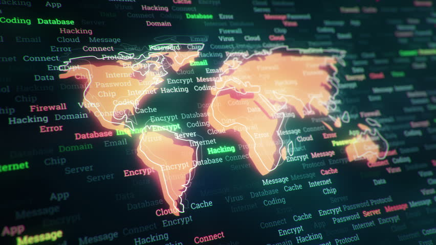 Technological background with changing words about technologies, social nets, business and money, communication and social marketing. Symbol of earth globe with glowing glass surface. Seamless loop. | Shutterstock HD Video #23606749