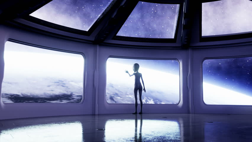 Alien in futuristic room. hand reaching out with Earth planet. UFO futuristic concept. Cinematic 4k animation.