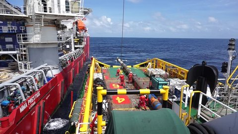 SARAWAK, MALAYSIA - JANUARY 31ST, 2017 :Rigging activity by rigger team on the offshore vessel during recovery spool pipe in the sub sea at Sarawak Operation, South China Sea, Malaysia.