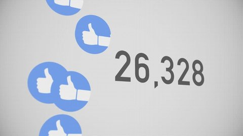 A close up shot of 100,000 likes being counted with thumbs-up icons on a social network page. Perspective version.