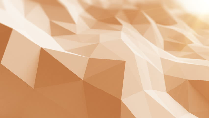 Beautiful Low Poly Surface Waving in Abstract 3d Animation with the Sun Rays. Seamless Background in 4k, 3840x2160, Ultra HD.   Shutterstock HD Video #23648320