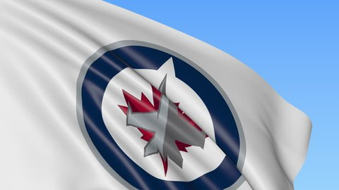 Close-up of waving flag with Winnipeg Jets NHL hockey team logo, seamless loop, blue background. Editorial animation. 4K