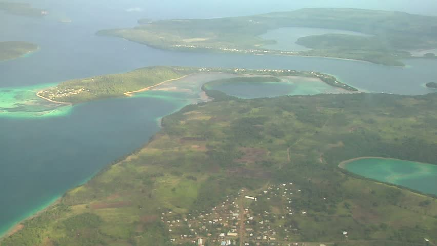 Aerial view of islands in the Tonga