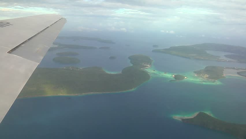 Plane view of islands in the Tonga