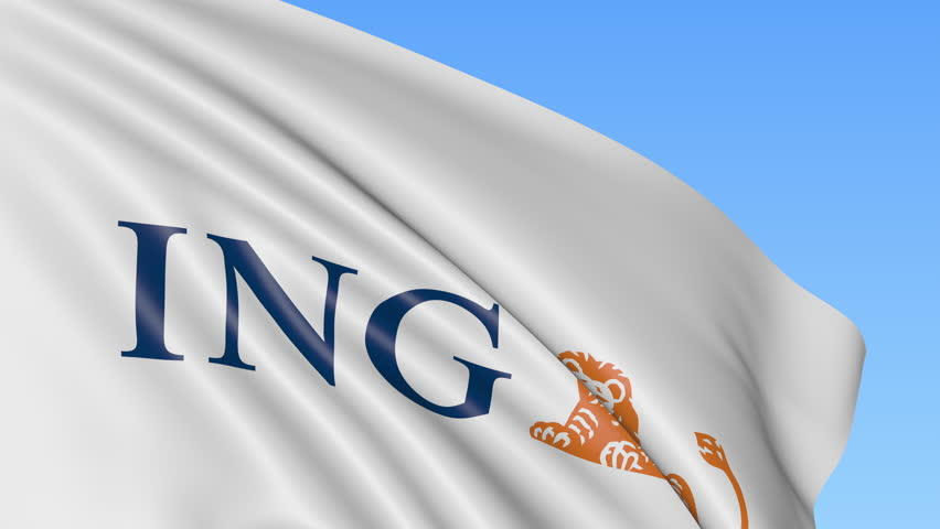 Close-up of waving flag with ING Group logo, seamless loop, blue background, editorial animation. 4K ProRes