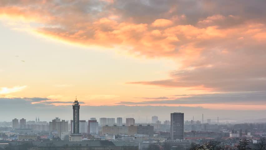 Czech city Ostrava timelapse sunset in winter | Shutterstock HD Video #23781760