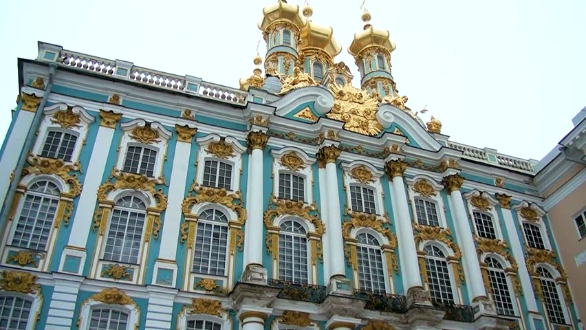 Catherine Palace in Tsarskoye Selo St. Petersburg. The old historic building from Imperial times. Ancient architecture in Pushkin. The place of tourism and excursions.
