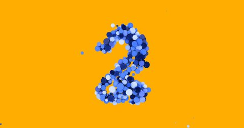 3d animation. Counting down. Scatter object. 123. Multi-colored balls. The dynamic animation. Animated text.