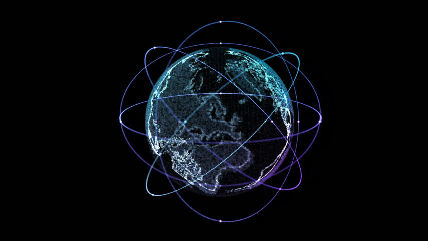 Digital technology connection of the Earth with orbiting satellites. Rotation of cycle #23838550