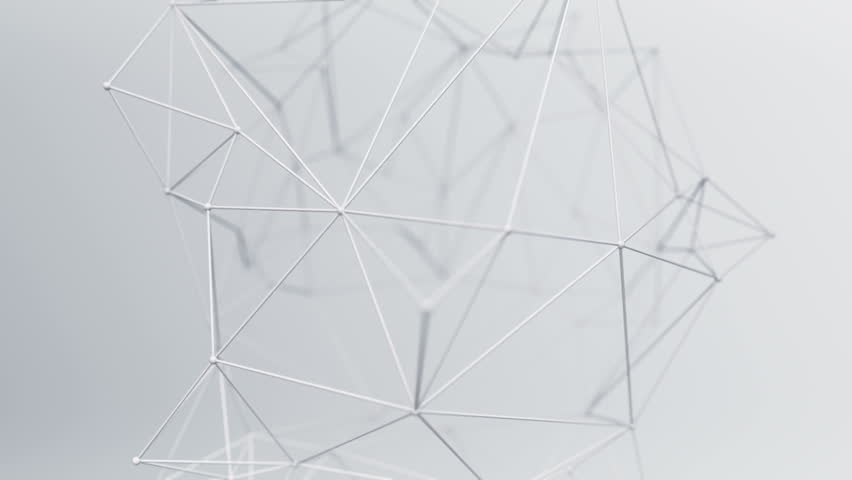 Abstract background with animation of waving and vibrating network surface. Technological movie about data transfer or social communication. Animation of seamless loop.