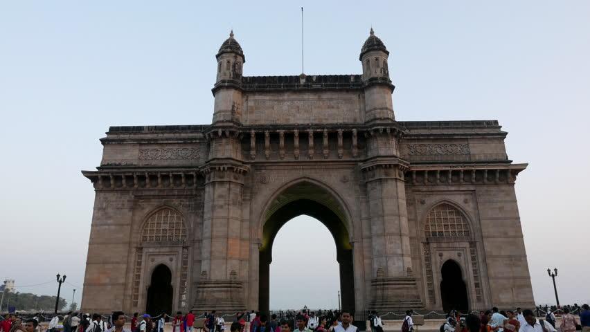 Mumbai, India: February 09, 2017: 4K footage of Gateway of India with camera movement at evening, Mumbai, Maharashtra, India.