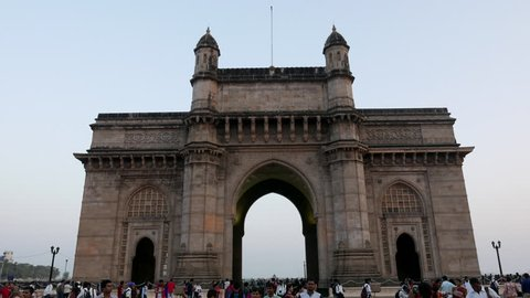 Mumbai, India: February 09, 2017: 4K footage of Gateway of India with camera movement at evening, Mumbai, Maharashtra, India.