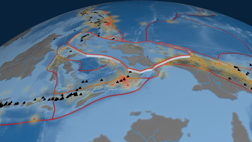 Birds Head tectonics featured. Topo and bathy. Plate extruded and animated against the globe. Tectonic plates borders (newest division), earthquakes by strength & volcanic cones | Shutterstock HD Video #23961169