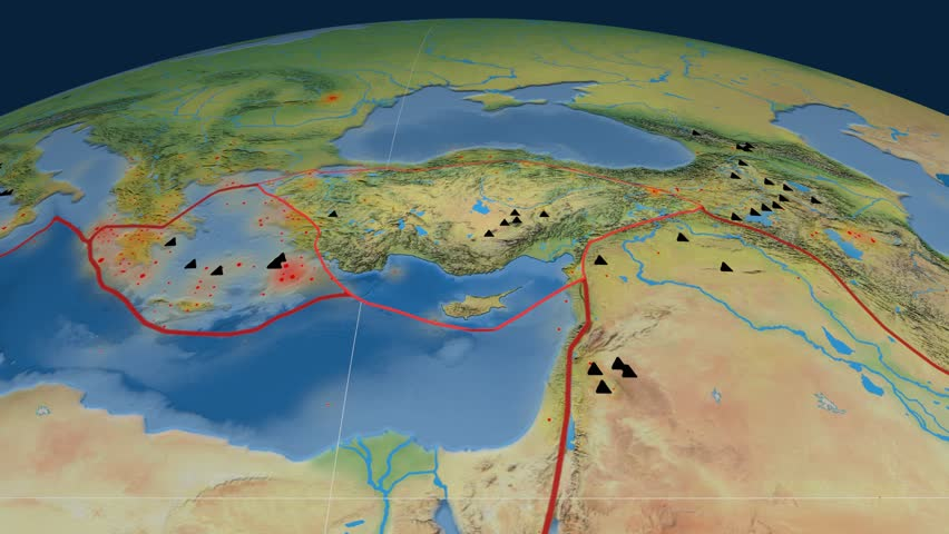Anatolia tectonics featured. Natural Earth. Plate extruded and animated against the globe. Tectonic plates borders (newest division), earthquakes by strength & volcanic cones | Shutterstock HD Video #23961466