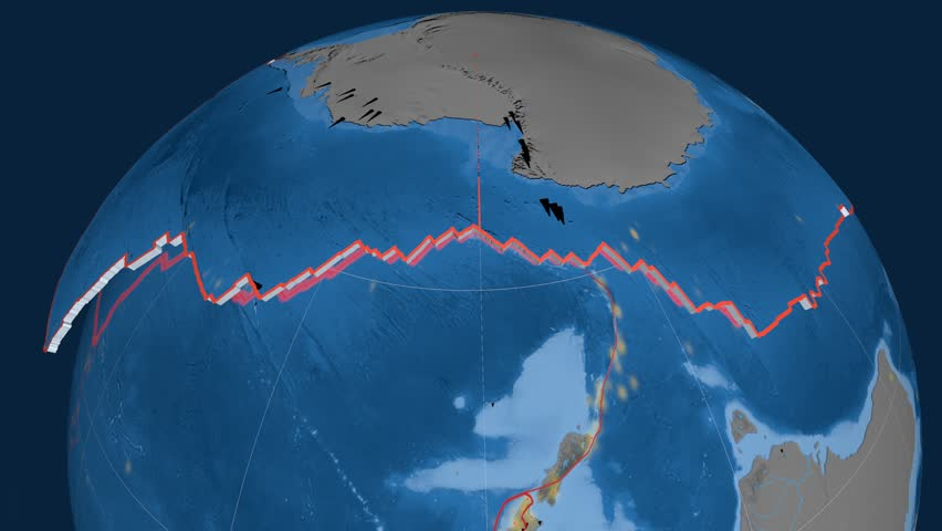 Antarctica tectonics featured. Topo and bathy. Plate extruded and animated against the globe. Tectonic plates borders (newest division), earthquakes by strength & volcanic cones   Shutterstock HD Video #23961520