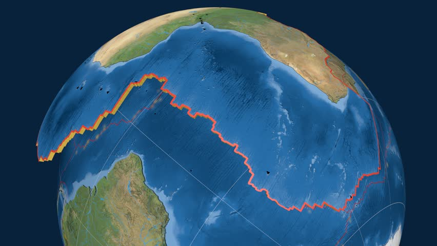 Africa tectonics featured. Satellite imagery. Plate extruded and animated against the globe. Tectonic plates borders (newest division), earthquakes by strength & volcanic cones | Shutterstock HD Video #23961532