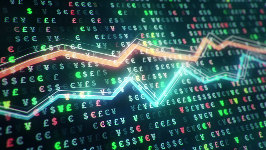 Technological background with growth of charts and graphs on binnary code backdrop. Symbols of business or finance with glowing glass surface. Seamless loop. | Shutterstock HD Video #23970340