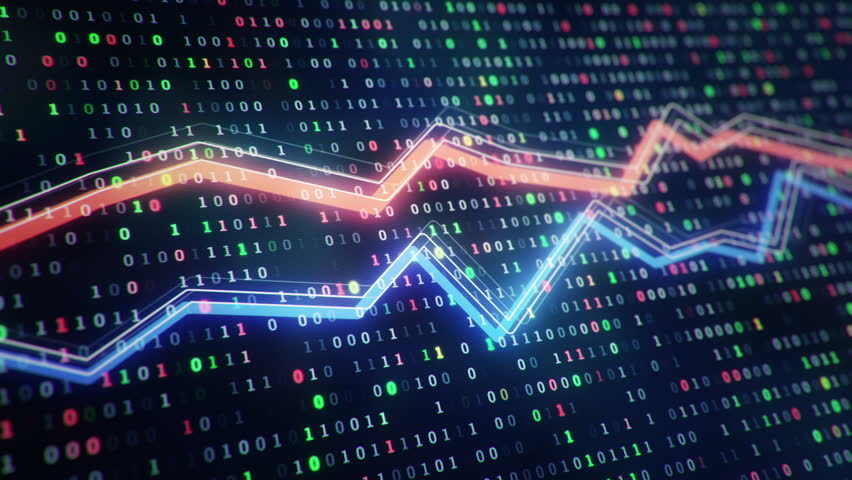 Technological background with growth of charts and graphs on binnary code backdrop. Symbols of business or finance with glowing glass surface. Seamless loop. | Shutterstock HD Video #23971810