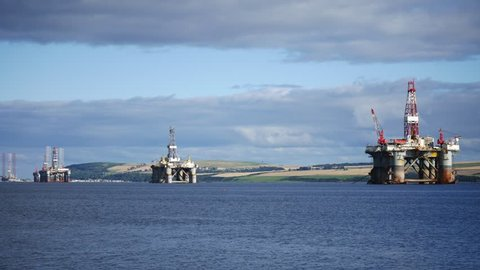Semi Submersible Oil Rig at Cromarty Firth in Invergordon, Scotland
