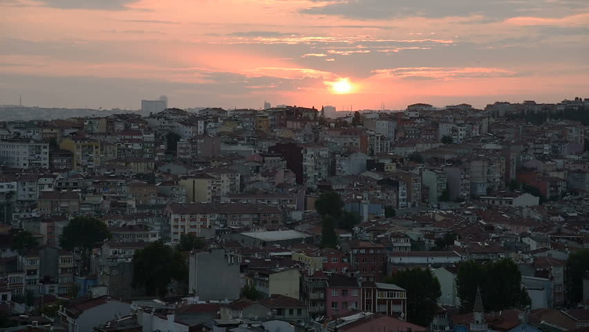 Sunset over the Beyoglu district inIstanbul, Turkey.