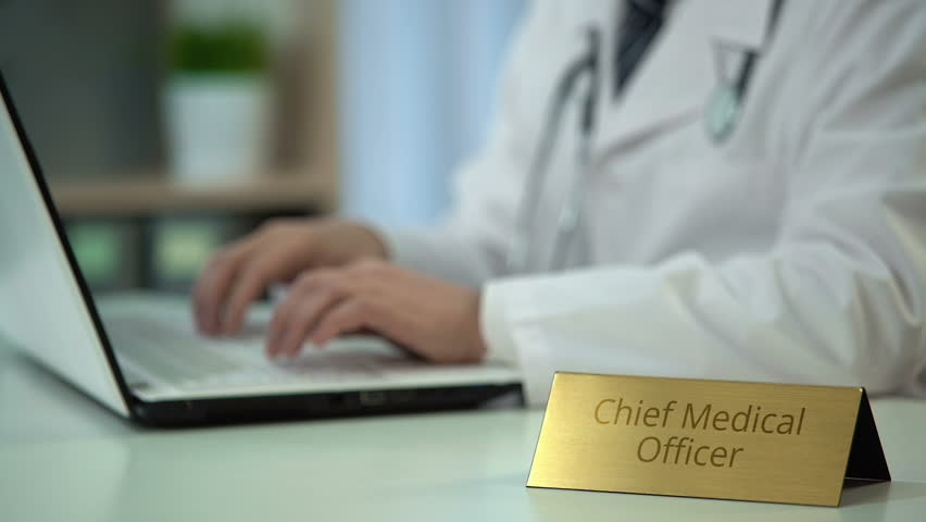 Hands Of Chief Medical Officer Ordering Medicaments Online, Typing ...