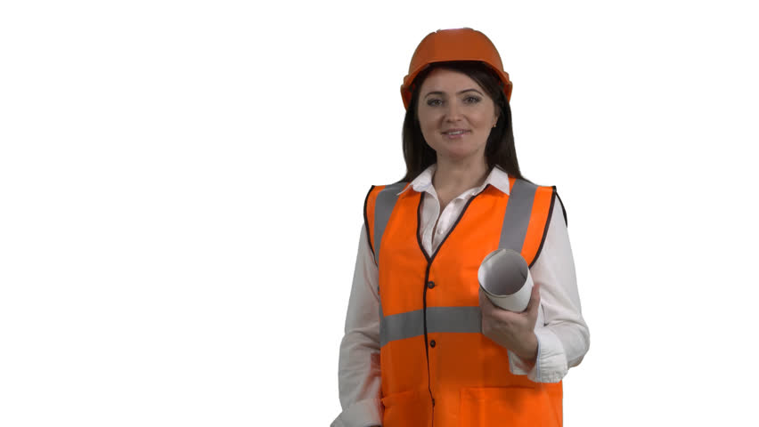 Female Construction Manager With Blueprint On White Background Woman In Orange Safety Vest And Hard