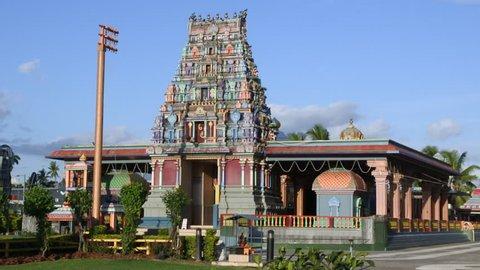 NADI, FIJI - FEB 09 2017:Indo-Fijian worshippers in the Sri Siva Subramaniya Hindu temple in Nadi, Fiji. It is the largest Hindu temple in the Southern hemisphere.