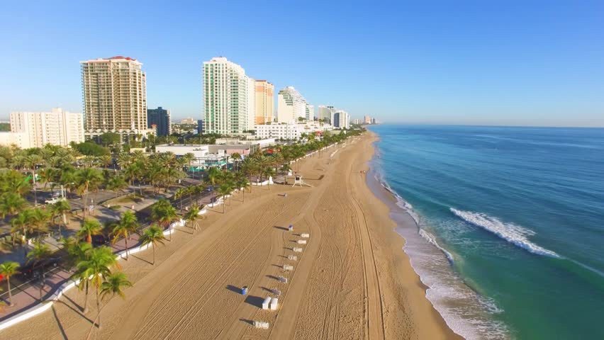 Sunrise at Fort Lauderdale Beach aerial video