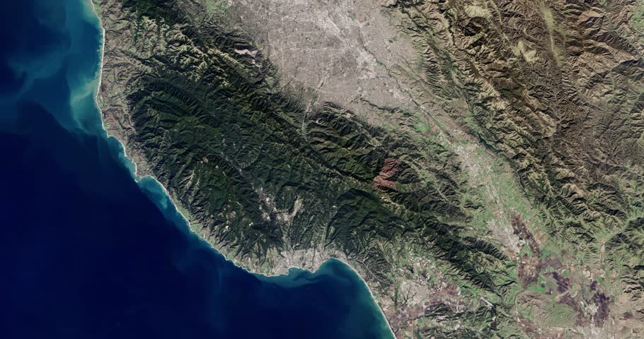 High-altitude overflight aerial of greater San Jose and Silicon Valley, California. Clip loops and is reversible. Elements of this image furnished by NASA