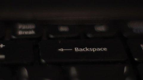 """The finger presses """"Backspace"""""""