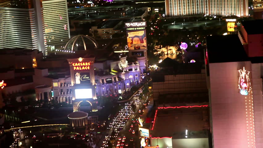 LAS VEGAS, NV - JUNE 6: aerial view of Las Vegas strip north at night June 6, 2012. Las Vegas is one of the top tourist destinations in the US
