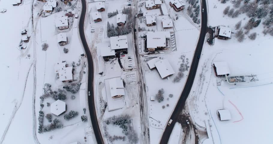 Aerial view over Livigno ski resort, winter roads landscape, Italy